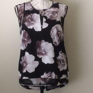 Simply Vera Wang Floral Slit Shoulder Blouse Top
